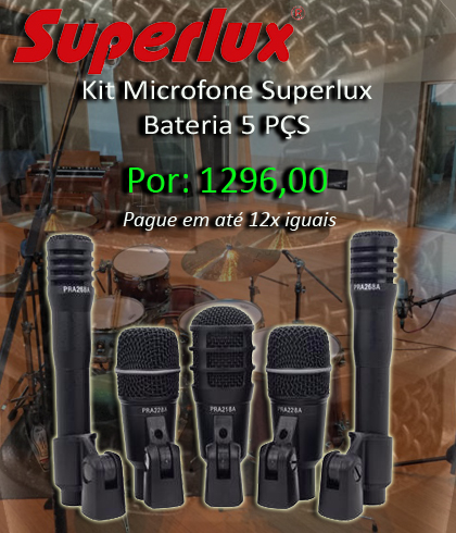 Banner Home Kit Microfone Superlux Bateria 5 PÇS
