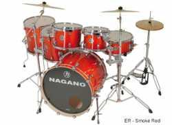 Imagem de Bateria Nagano Concert Lacquer 10/12/14/16/22 Smoke Red - CONCLQ22SR