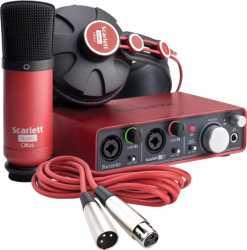Imagem de Kit Estúdio Focusrite Scarlett (Microfone + Interface + Fone de ouvido)